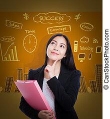 corporación mercantil de mujer, pensamiento, muchos, ideas, fondo., asiático