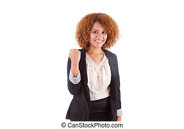 corporación mercantil de mujer, joven, clenche, norteamericano, africano, retrato