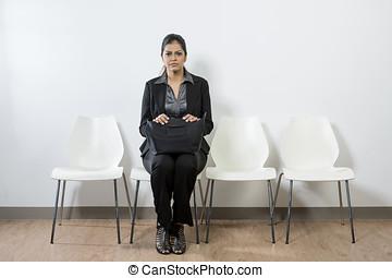 corporación mercantil de mujer, nervioso, mirar, indio,...