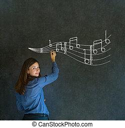 corporación mercantil de mujer, profesor, tiza, música, plano de fondo, aprender, o