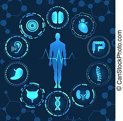 corporal, órgãos, médico, virtual, diagnóstico, olá, saúde, human, cuidado, tech, painel