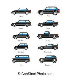 corporal, apartamento, jogo, ícones, car, isolado, vetorial, nomes, automóvel, tipo, ou