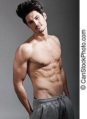 corporal, atlético, muscular, pelado, metade, excitado, homem