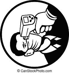 corporal, círculo, temperatura, examine, retro