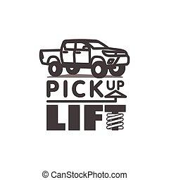 corporal, car, elevador, ilustração, pickup, vetorial, caminhão, modelo, logotipo