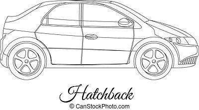 corporal, car, tipo, esboço, hatchback