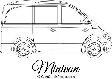 corporal, car, tipo, esboço, minivan