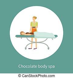 corporal, cartaz, chocolate cobriu, spa, menina, loção