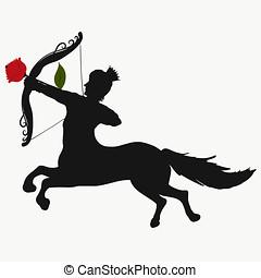 corporal, cavalo, rosa, arco, seta, tiroteio, príncipe