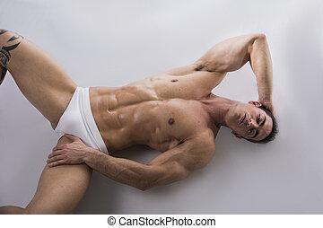 corporal, chão, deitando, jovem, muscular, pelado, homem