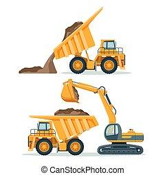 corporal, cheio, escavador, entulho, solo, modernos, caminhão