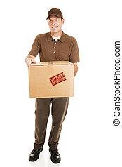 corporal, cheio, pacote, -, homem entrega