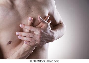 corporal, Coração, dor, ataque,  human