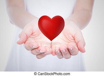 corporal, coração, sobre, mulher, mãos