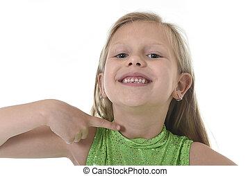 corporal, cute, pequeno, apontar, dela, escola, mapa, serie, partes, aprendizagem, menina, pescoço
