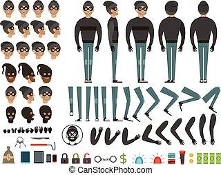 corporal, diferente, bandit., criação, personagem, vetorial, equipamento, específico, partes, desenho, ou, elementos, mascote
