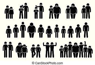 corporal, diferente, tamanhos, pessoas, icons., alturas, homem