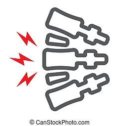 corporal, dor, linear, experiência., espinha, padrão, costas, doloroso, sinal, vetorial, dor, gráficos, ícone, linha, branca