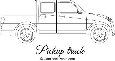 corporal, esboço, pista, car, pickup, tipo
