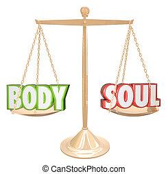 corporal, escala, pesando, alma, saúde, palavras, equilíbrio, total