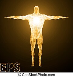 corporal, espiritual, construtor, energy., ilustração, conceitual, version.