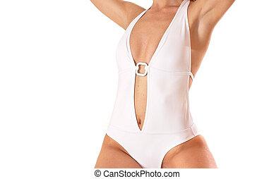 corporal, excitado, senhora, swimsuit
