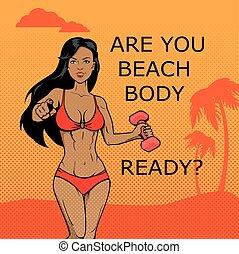 corporal, girl., desenho, condicão física, pronto, praia