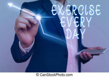 corporal, healthy., ajustar, negócio, adquira, foto, mostrando, movimento, escrita, day., conceitual, cada, mão, showcasing, energeticamente, ordem, exercício