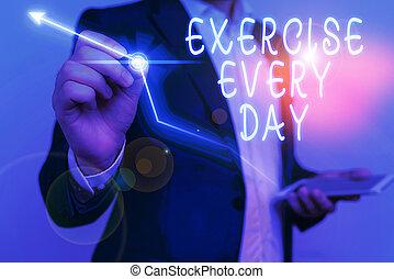 corporal, healthy., movimento, showcasing, negócio, cada, foto, mostrando, mão, day., ordem, energeticamente, escrita, conceitual, seja ajustado, exercício