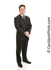 corporal, homem negócios, cheio, maduras