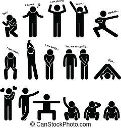 corporal, homem, pessoas, língua, postura