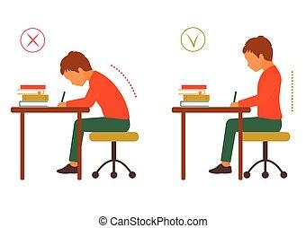 corporal, incorreto, sentando, correto, postura