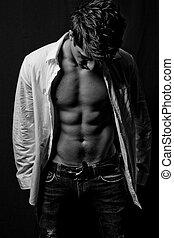 corporal, macho, condicão física
