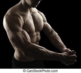 corporal, macho, pretas, fundo,  Muscular