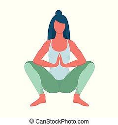 corporal, malasana, mulher, exercício, pose.
