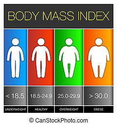 corporal, massa, índice, infographic, icons., vetorial