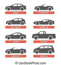 corporal, modelo, variantes, vetorial, silueta, ícones, jogo, web., automobile., isolado, ilustração, objetos, experiência preta, car, branca, tipo, shadow.