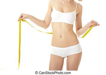 corporal, mulher, amarela, coxas, medida, cuidado
