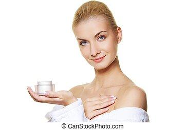 corporal, mulher, aplicando, dela, moisturizer, creme