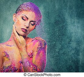 corporal, mulher, arte, fragilidade, human, conceitual,...