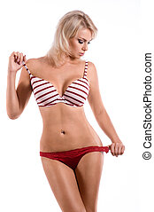 corporal, mulher, esbelto, langerie, deslumbrante, excitado, vermelho