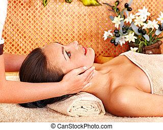 corporal, mulher, massagem, obtendo
