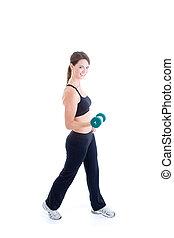 corporal, mulher, peso, esbelto, mão, cheio, caucasiano, levantamento