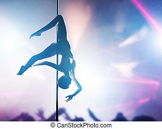 corporal, mulher, silueta, dança, sensual, polaco, executa, ...