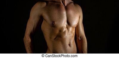 corporal,  Muscular, fundo,  unrecognizable, pretas, macho