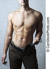 corporal, muscular, homem, excitado, jovem