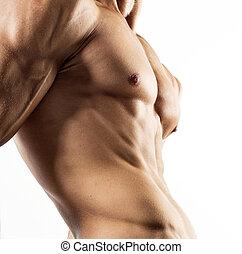 corporal, pelado, excitado, muscular, metade