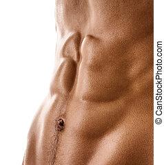 corporal, pelado, homem, muscular, excitado