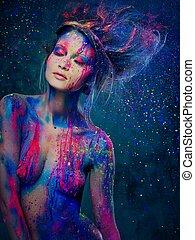 corporal, penteado, mulher, arte, jovem, musa, criativo