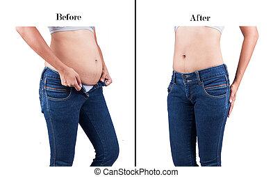 corporal, perda, peso, após, gorda, barriga, entre, antes de, mulheres